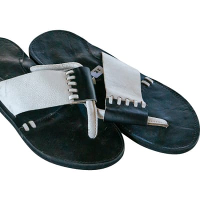 Tanzanian  Leather Slippers  White and Black image
