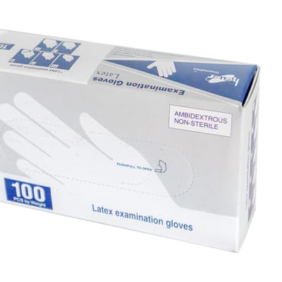 Latex Examination Gloves  Ambidextrous Non-Sterile 100 Pcs by Weight image