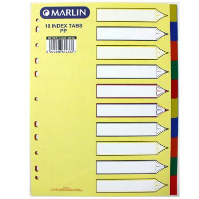 File Dividers 10 tab colour PVC image