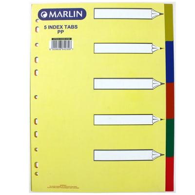 File Dividers 5 tab colour PVC image