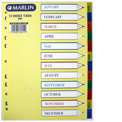 File Dividers Jan-Dec PVC image