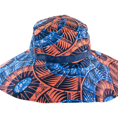 Bucket Hat Ladies Chitenge in Blue and Brown image