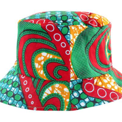 Chitenge Bucket Hat Green Red and Yellow image
