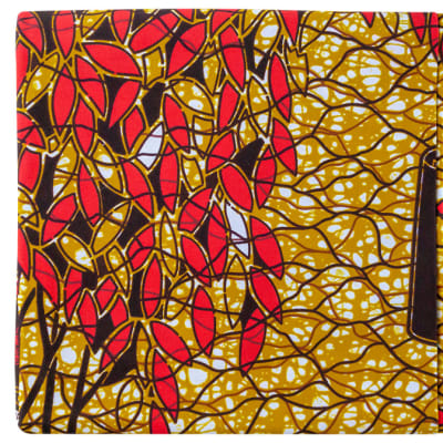 African Prints Chitenge Material  Yellow with Red Leaves Pattern image