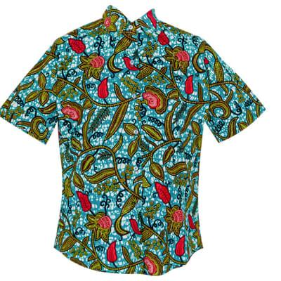 Men's Short Sleeved  Chitenge Shirt  Floral Pattern on Blue image