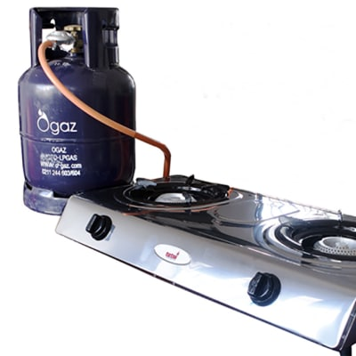 9kg LPG, gas & stainless steel 2 plate stove set image