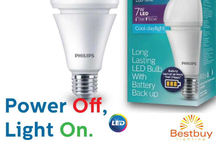 Rechargeable LED bulb with battery back up image