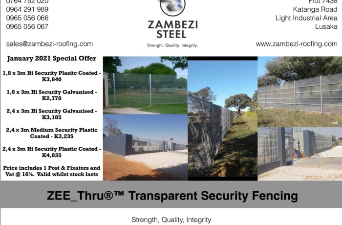 January 2021 special offer on ZEE_Thru®™ Transparent Security fencing image
