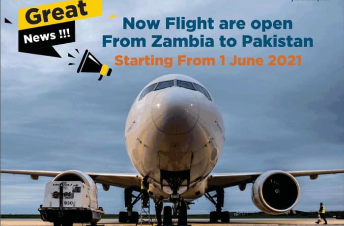 Flights from Zambia to Pakistan now open image