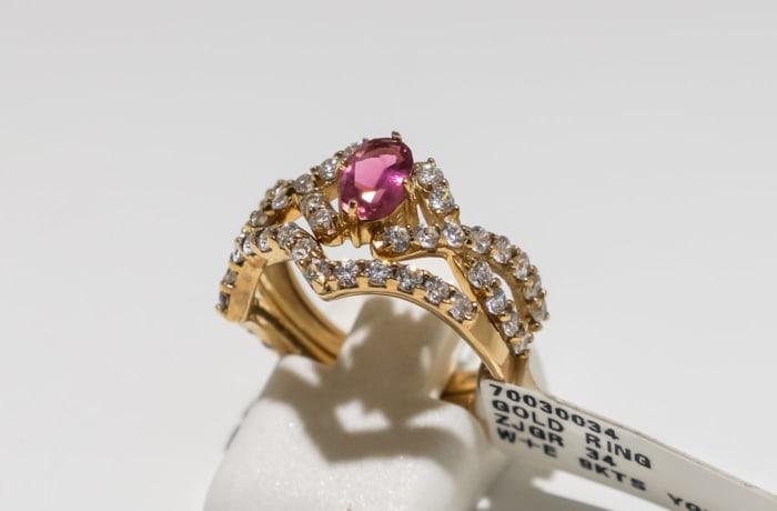 Wedding set pink tourmaline yellow gold 9k and swarovski crystal ring