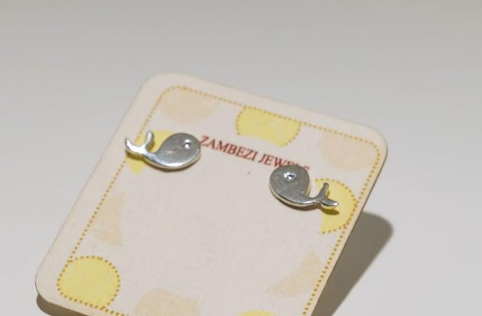 Silver earring whale stud