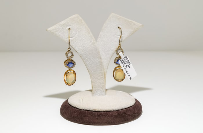 Gold topaz tanzanite and crystal oval earrings