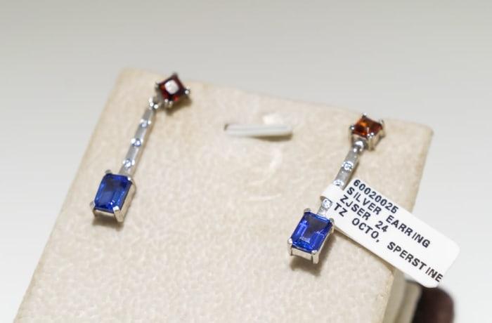 Silver tanzanite and sperstine earrings