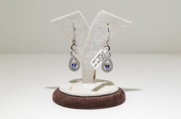 Silver ribbon design tanzanite and swarovski crystal earrings
