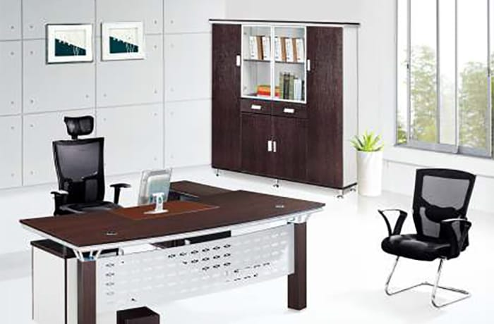 2.2 Metre Executive Desk with side Unit & 3 Drawers