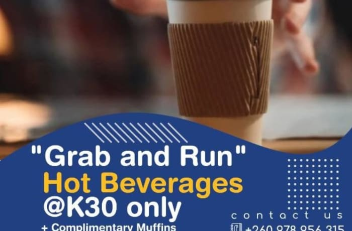 """""""Grab and run """" hot beverage special image"""
