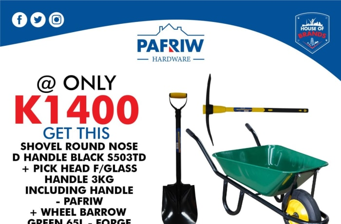 Get the best deals on wheelbarrow, shovel and pick combo image