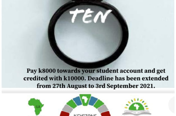 Pay K8,000 on your students account and Save K2000! image