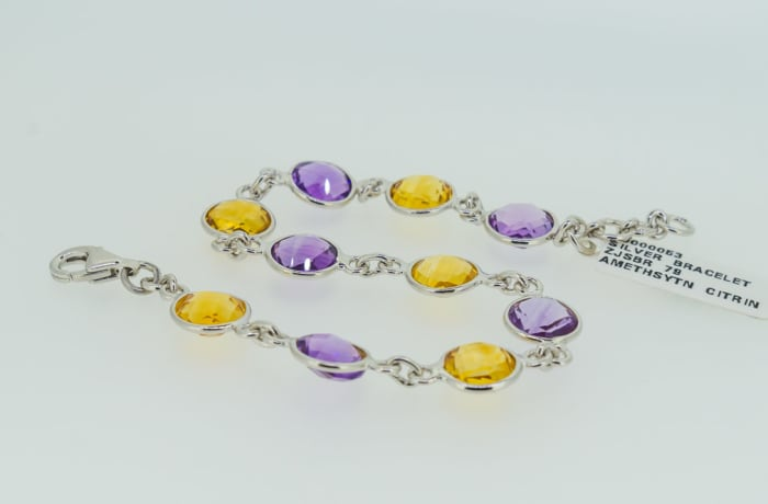 Silver amethyst citrine bracelet