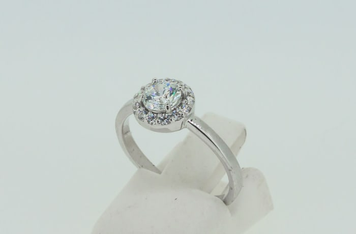 Engagement silver and crystal halo ring with crystals