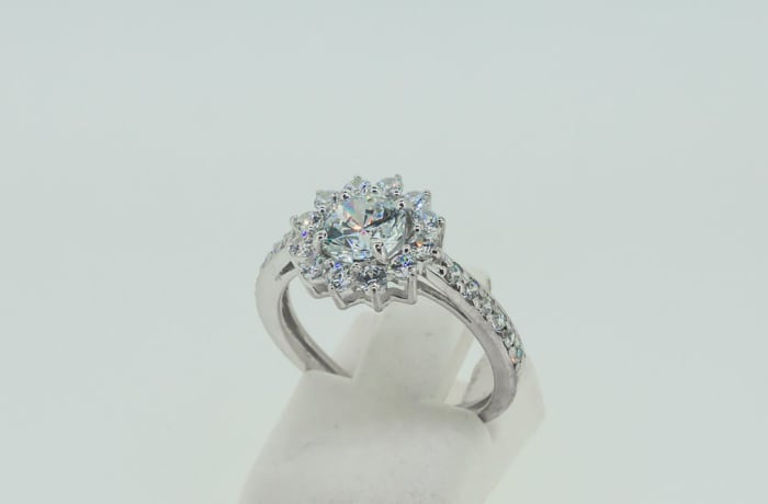 Engagement silver brilliant round crystal ring with cluster ring of crystals