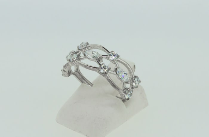 Engagement silver and crystal armour ring