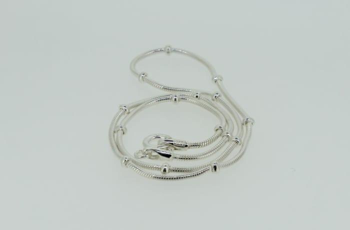 Silver link segmented necklace