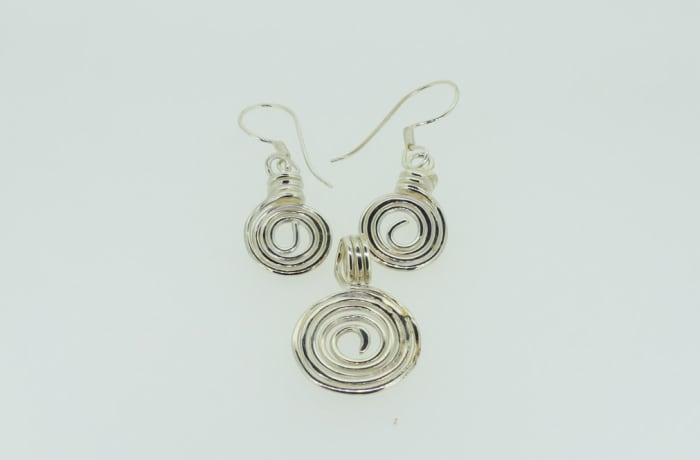 Silver rings pendant and earring set