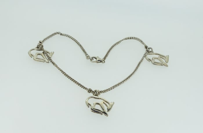 Silver necklace with donkeys
