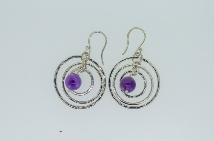Silver rings earrings with sapphire