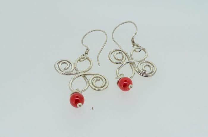 Silver earrings with ruby gemstones