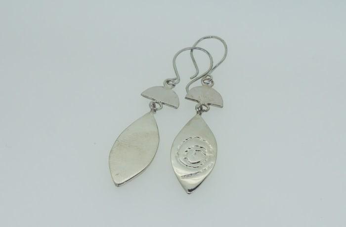 Silver earrings of silver leaf design