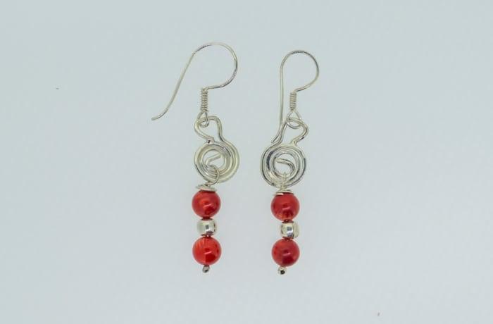 Silver earrings with rubies
