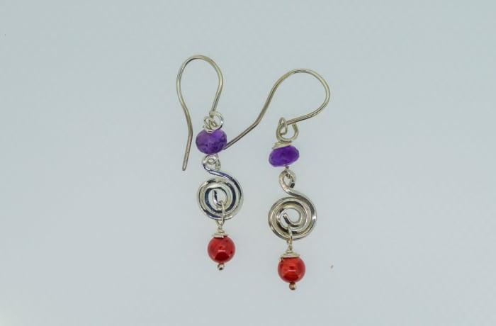 Silver amethyst and ruby gems earrings