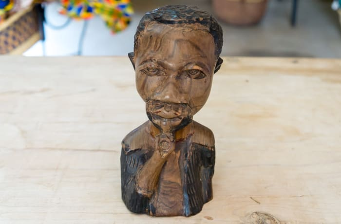 Wooden Curving of head and chest of a man