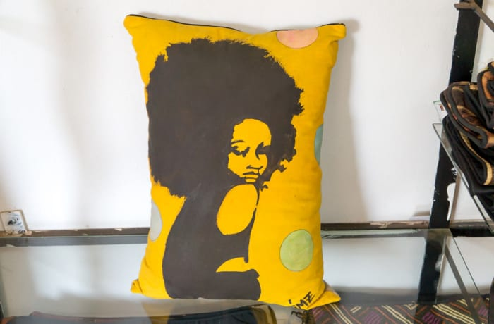 Yellow Cushion with drawing of a lady