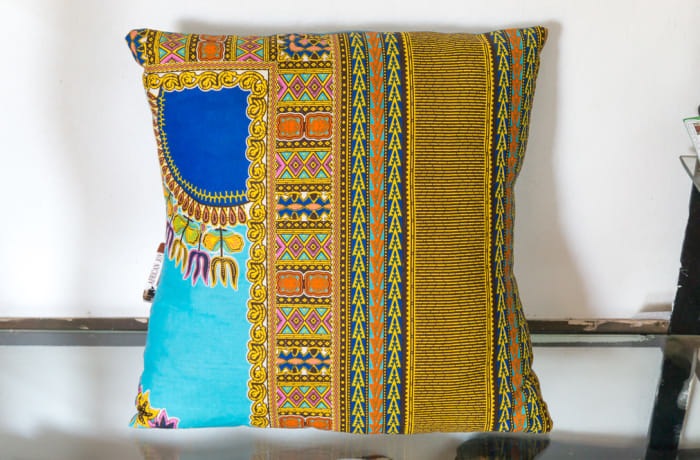 Yellow and Blue Cotton Linen Cushion