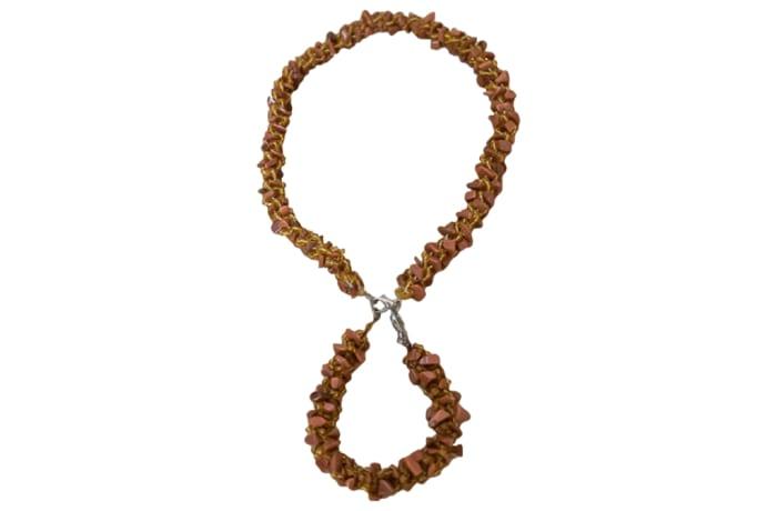 Beaded  Brown   Rope Necklace & Bracelet
