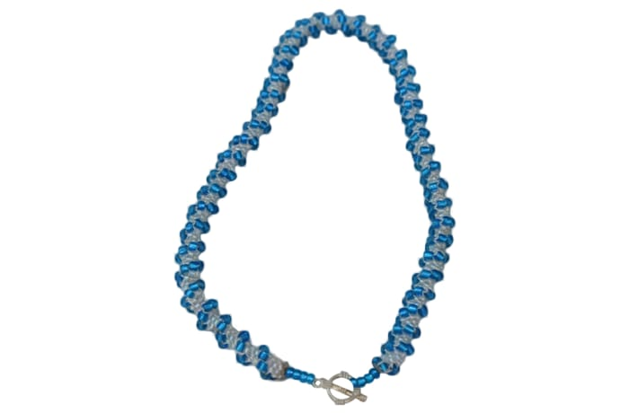 Beaded Blue  Rope Necklace