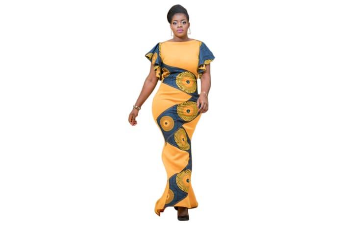 Long dress - African print dress body contour dress