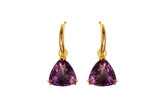 Removable Loop Amethyst Yellow Gold Earring