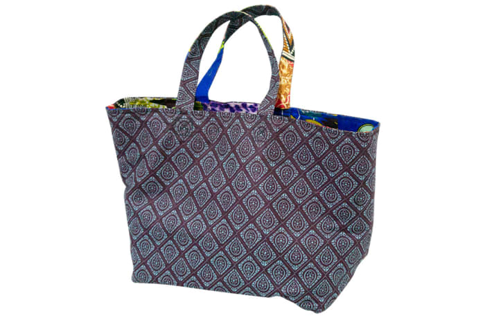 Ankara shopping bag - Brown & blue