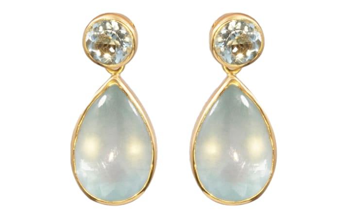 Yellow Gold  Teardrop Aquamarine  Bezel  Earrings