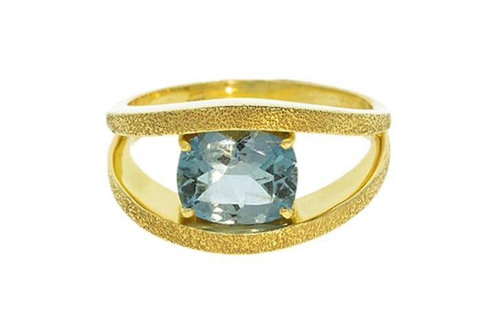 Yellow Gold Aquamarine  Double Ring