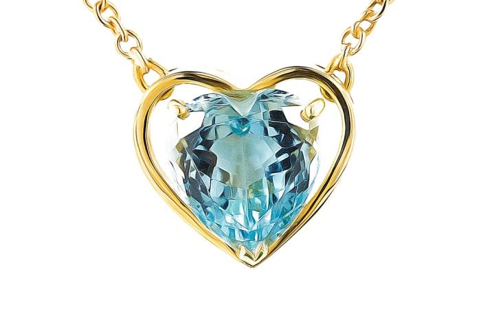 Yellow Gold  Aquamarine  Heart Necklace