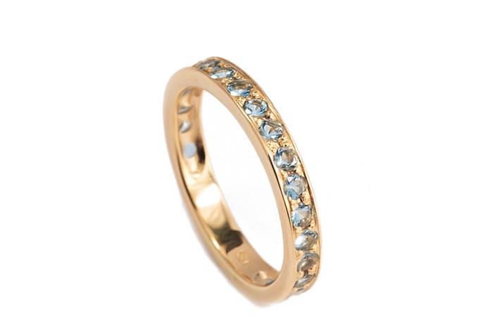 Yellow Gold Aquamarine  Pave Ring