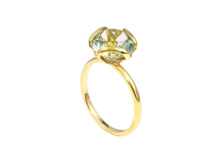 Yellow Gold Aquamarine  Petal Ring