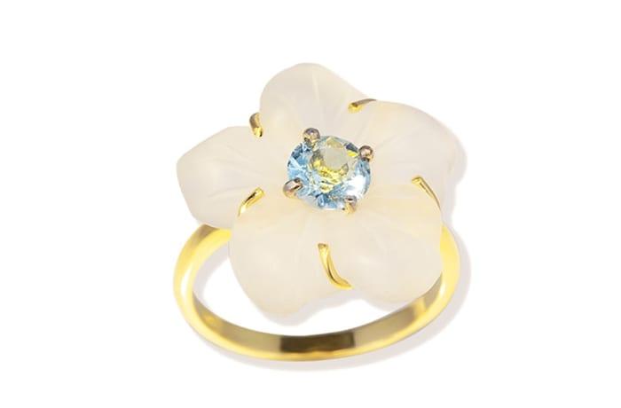 Yellow & White Aquamarine & Quartz  Flower Ring