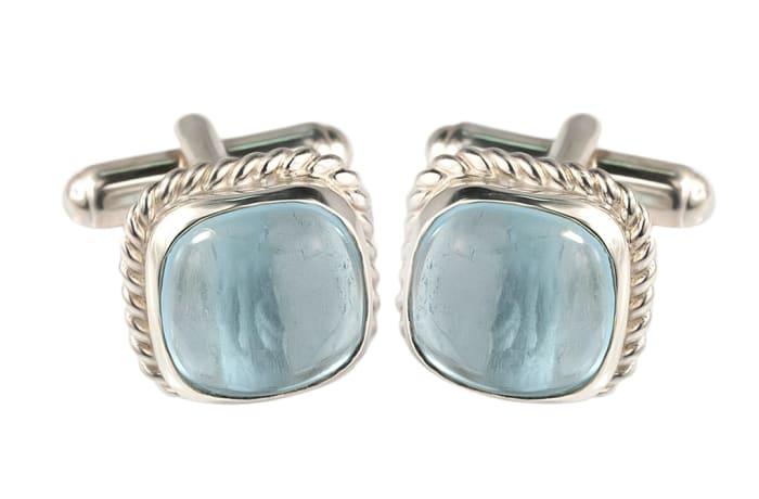 Silver Twisted Wire T-Bar Aquamarine   Cufflinks