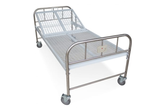 Hospital bed with backrest hand lifting on castors